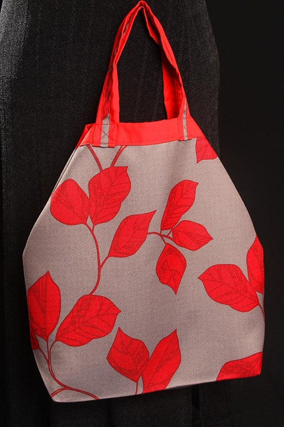 Red Leaf Tote (reversible) - Red on Grey Hand Bag