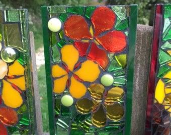 Stained Glass Mosaic Garden Tile - Nasturtium 2