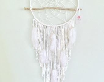 Large Dreamcatcher, White Dreamcatcher, Wedding Dreamcatchers, Boho Home Decor, Doem Decor, Modern Wall hanging, Boho Wedding Decor,