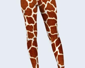 Giraffe Leggings, Animal Leggings, Womens Leggings, Workout Leggings, Printed Leggings, Brown Leggings, Women Yoga Pants, Fashion Leggings
