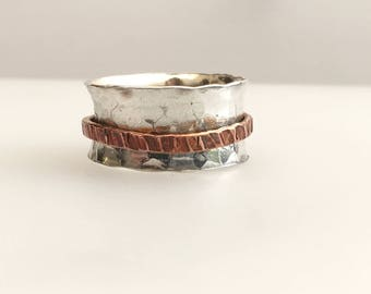 Sterling Silver hammed ring with copper ring