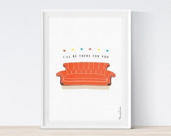 Friends TV Show Poster, Friends Couch Print, I'll Be There For You Print, Central Perk, 90s Sitcom, Friends Printable Art