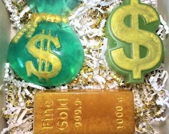 Mens Gift.Soap Gift Set for Men Magnate. Bag with Money Soap,Gold Bar Soap,The Dollar Sign Soap.