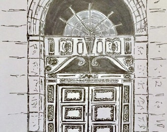 Original drawing, architecture art, original sketch, pen and ink, doorway drawing, Europe drawing