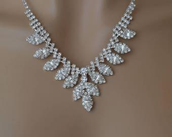 Rhinestone Jewelry Set, Crystal Wedding Necklace Set, bridal jewelry set, wedding jewelry set.
