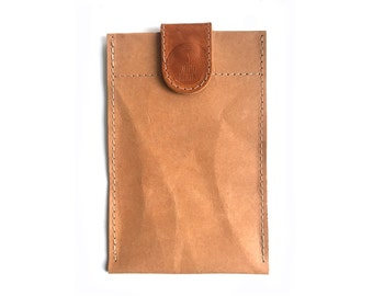 Camel brown washable paper look phone case with leather closure, iphone 6 case