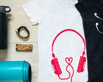 Headphones Maternity Tee (Pink)