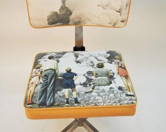 """Office Chair vintage """"Explosive Contemplation"""" /Chaise of vintage metal office / desk chair Vintage / Metallic chair desk"""