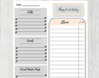 Life Planner A4 or A5 Insert. Things to Do Today. To-Do List. Peach and Grey /Gray. Instant Download. Digital Printable Item. Organiser.