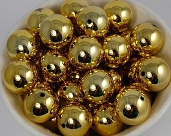 20 pcs Chunky Bubblegum Beads 20mm Shiny Gold 20pcs