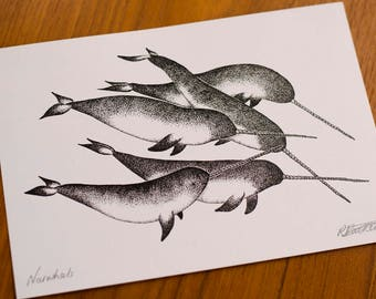 A5 Narwhal Illustration Print