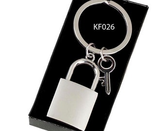 Padlock & Key Keyring - Engraved with your short message! Unique Personal Gift!