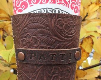 Handmade leather coffee cup sleeve