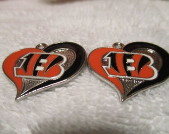 BENGALS HEART CHARMS