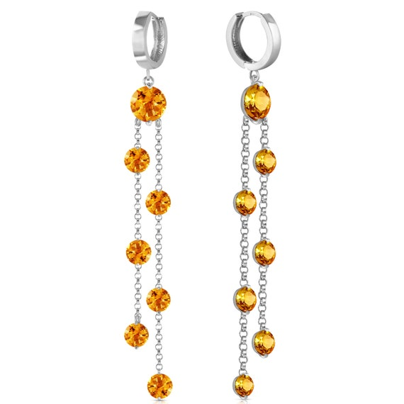 Gold CHANDELIERS Earrings WITH CITRINES