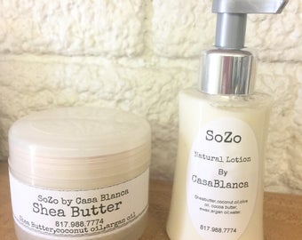 Unscented unrefined Shea butter cream & shea butter lotion