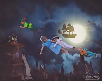 Peter Pan Digital Background - Disney Inspired - Digital Backdrop - Neverland - Night Sky - Photo - Cloud - Pirate Ship Photography Backdrop