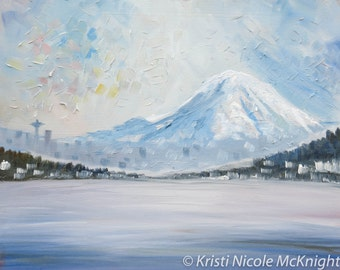 On The Ferry to Seattle - Puget Sound, Washington State. LIMITED Edition Print of my Original Painting. Mt. Rainier.