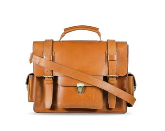 Men's X-Large leather laptop bag -British tan