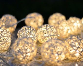 20 Handmade Rattan Balls Fairy String Lights Patio Party  Wedding Floor Table  Xmas Hanging Gift Christmas Home Garden Decor