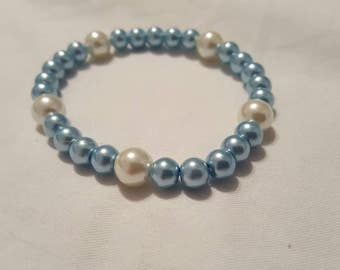 Pearl bracelet, Blue and white pearl bracelet, Pearls, Jewelry, Wedding jewelry, Wedding accessories, Something blue, Bracelet