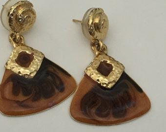 Vintage gold brown and black enamel earrings
