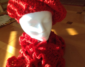 Dazzling in Red curly scarf set