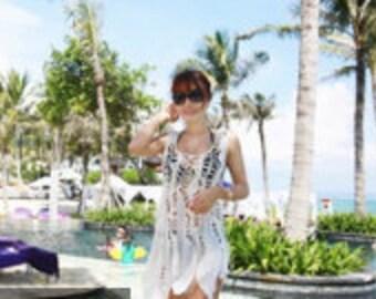 Sleeveless Scoop Neck Lace Crochet Beach Dress Coverup