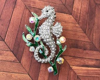 Rhinestone Seahorse Brooch, Doubles as a Pendant, Silver, Shiny, Sea Creature, Animal, Ocean, Beach, Unique
