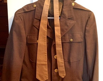 Authentic Vintage World War II Air Force Dress Jacket with Tie and Hat