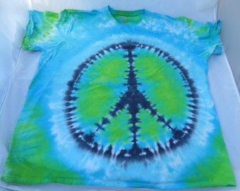 Tie Dye T Shirt-Peace Sign Design- 2 X large