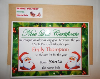 Christmas Santa 'Nice List' Certificate - Personalised A4, Christmas, North Pole, Christmas, Customised certificate