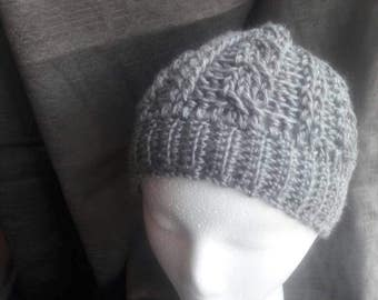 Messy bun hat/ponytail hat, crochet cables, gray