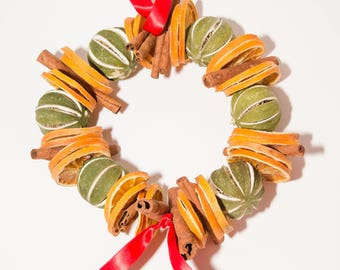 Dried Orange Slices, Cinnamon and Dried Whole Limes Wreath