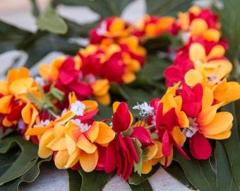 Deluxe SILK FLOWER LEI - Red & Yellow Plumerias