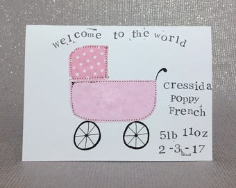 New baby card / new baby girl card / new baby boy card / personalised newborn card / personalised new baby card / applique pram card