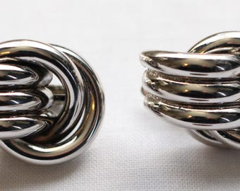 BNE # 130 Signed Trifari Silver Tone Clip On Earrings with Modernist Feel