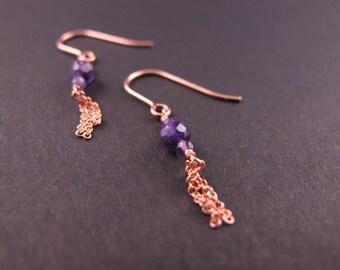 These delicate earrings, pendants, rose gold-filled, semi-precious stones, Amethyst, mid-length earrings