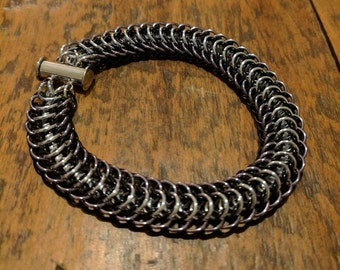 Gradient Silver/Black Dragonback Bracelet