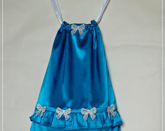 Nightgown or Pajamas in blue satin storage bag