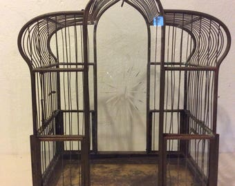 Antique Brass and Glass Birdcage