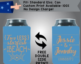 Two Less Starfish in the Beach Names Date Collapsible Fabric Wedding Cooler Double Side Print (W149)