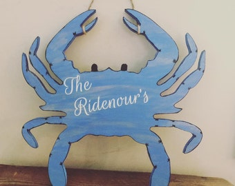 Beach house Decor, Wooden Blue Crab, Home decor maryland crab