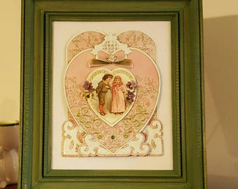 Picture Distressed Frame, Shabby Chic Decor, Vintage Decor, 3 D Greeting Card, Wall Hanging