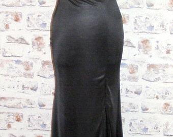 Size 8 strappy glam jewelled vintage 90s maxi dress shiny black (GL58)