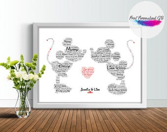 Personalise MICKEY & MINNIE Kissing - Design - Custom Print - Word - Disney - Personalisable - Gift - Love - word art print - CANVAS