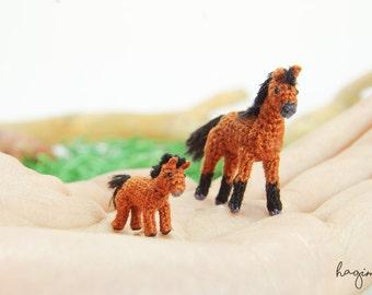 Miniature Horses, crochet horse family, Tiny amigurumi crochet animal - Made to order