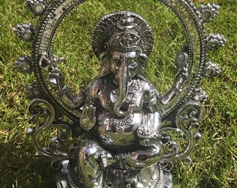 Silver Ganesh in Seated Blessing Pose Statue