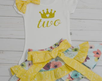 2nd Birthday Outfit Girl with Ruffled Skirt, Second Birthday Outfit, Birthday Outfit, Birthday Girl, 2nd Birthday Skirt, Toddler Birthday