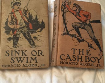2 Horatio Alger books Cash Boy and Sink or Swim